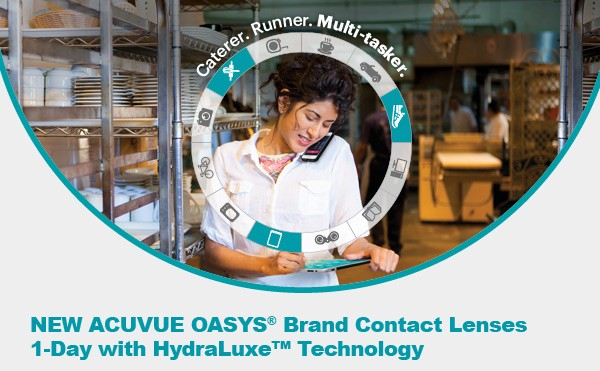 Get your FREE trial of ACUVUE OASYS® 1-Day with HydraLuxe™ Technology